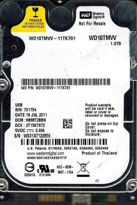 Western Digital WD10TMVV-11TK7S1 USB 2.0 1TB DCM: HBMT2BBN