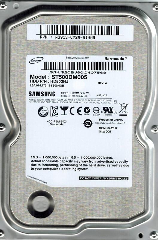 Samsung ST500DM005 HD502HJ 500GB P/N: A3913-C72A-AI4MR
