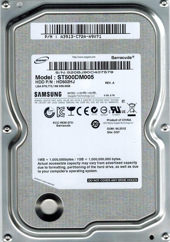 Samsung ST500DM005 HD502HJ 500GB SATA P/N: A3913-C72A-A9V71