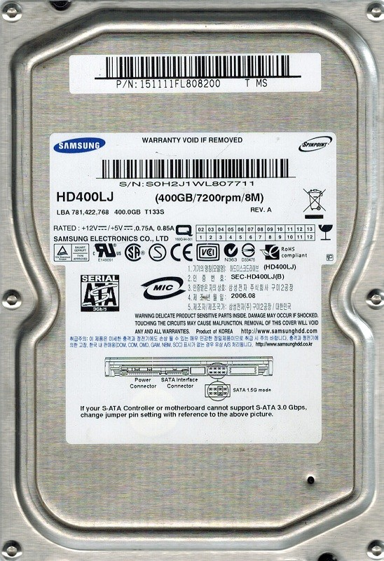 Samsung HD400LJ SPINPOINT 400GB P/N: 151111FL808200