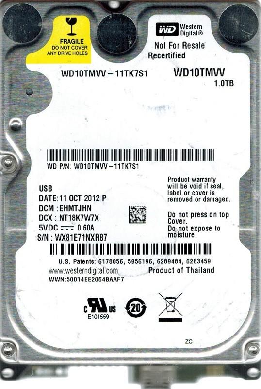 Western Digital WD10TMVV-11TK7S1 USB 2.0 1TB DCM: EHMTJHN