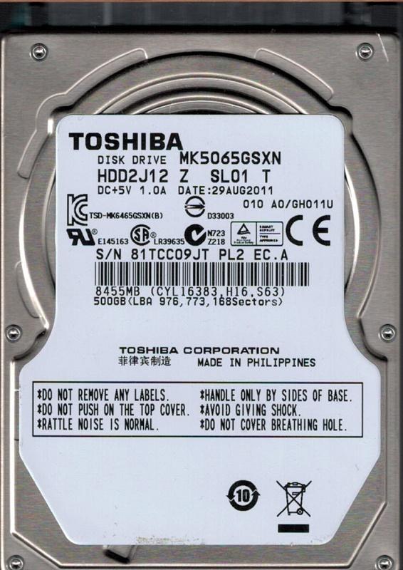 MK5065GSX HDD2H82 B UL01 B Toshiba 500GB