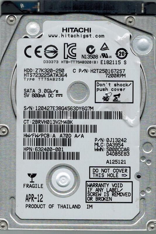 0A31993 MLC BA1955 250GB SUN Hitachi HDT722525DLA380 P//N