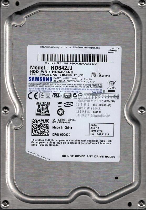 Samsung 640GB SATA 3.5 Hard Drive HD642JJ HD642JJ//C FW 1AA01117