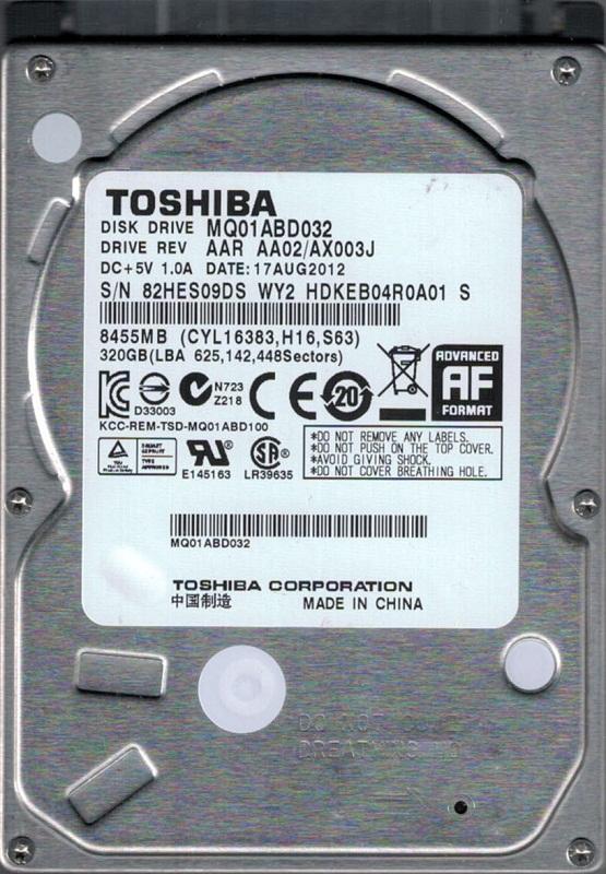 MQ01ABD032 AAE AA00//AX002J China Toshiba 320GB Laptop Hard Drive