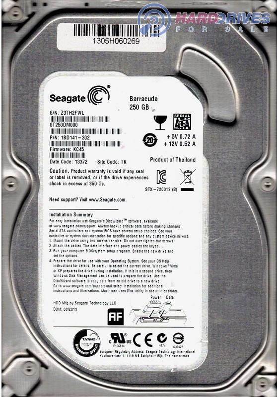 Seagate ST250DM000 P//N:1BD141-500 250GB F//W KC45 TK