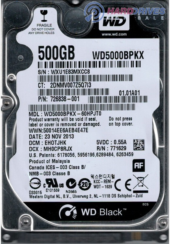 Wd5000bpkx 60hpjt0 Dcm Ehotjhk Wxu1e Western Digital 500gb