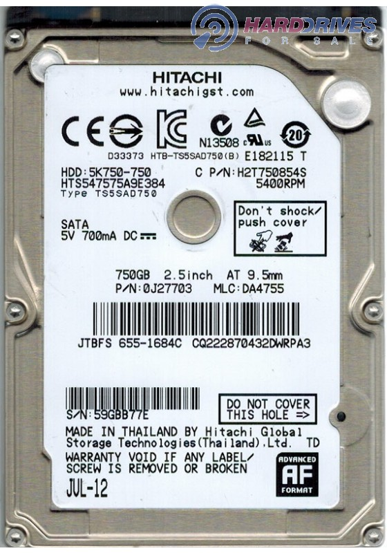 Hitachi HTS547575A9E384 PN:0J27703 MLC:DA4755 Apple#655-1684C 750gb Sata HDD