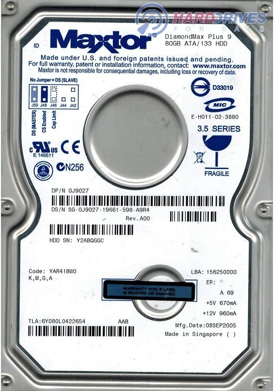 Maxtor 6Y080L0 IDE 80GB CODE YAR41BW0 KMGA
