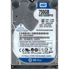 Western Digital WD7500BPVX-22JC3T0 750GB DCM: HHKTJHKB