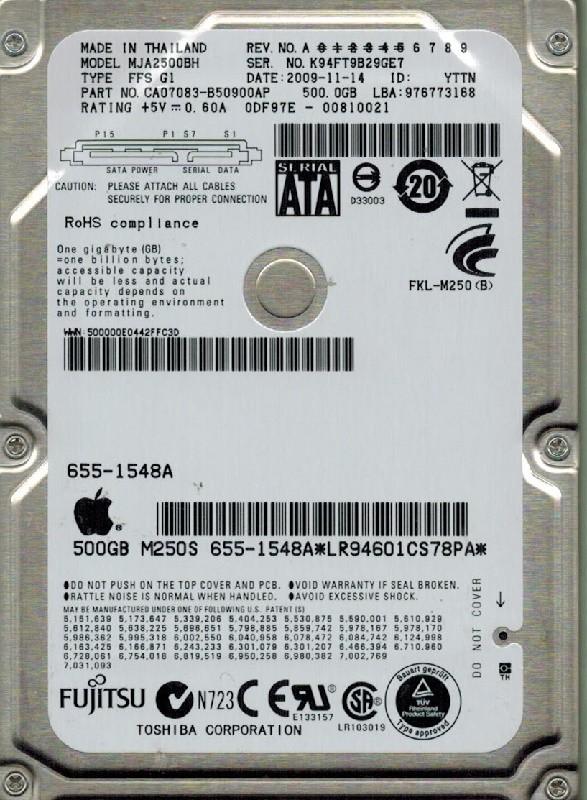 Fujitsu MJA2500BH  P/N: CA07083-B50900AP DATE: 2009-11-14 500GB