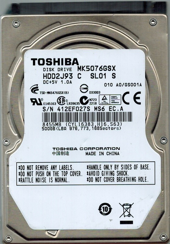 Toshiba MK5076GSX HDD2J93 C SL01 S 500GB CHINA F/W: A0/GS001A