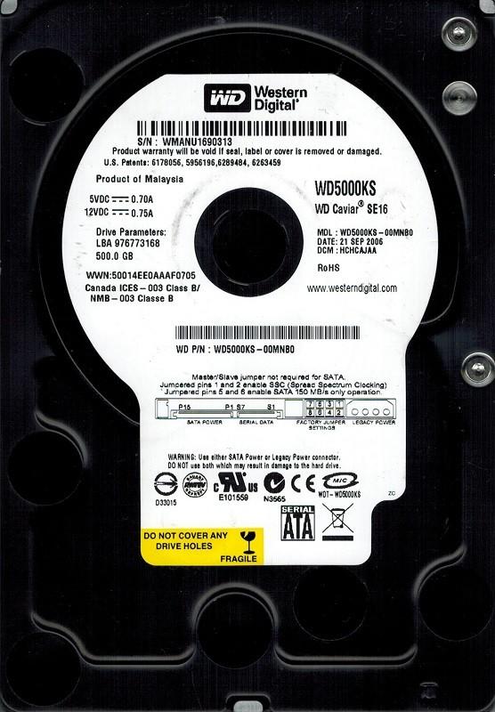 Western Digital WD5000KS-00MNB0 DCM: HCHCAJAA  500GB