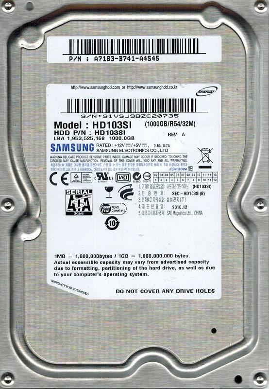 Samsung HD103SI 1TB P/N: A7183-B741-A4S45