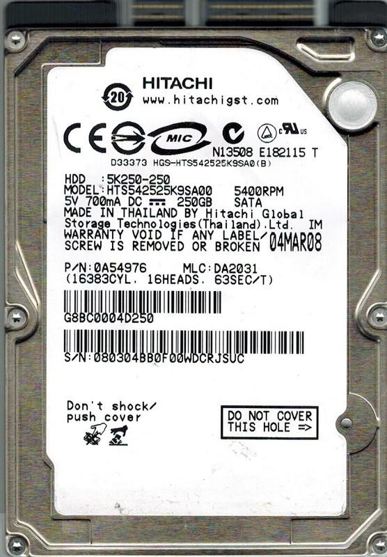 Hitachi HTS542525K9SA00 P/N: 0A54976 MLC: DA2031 250GB