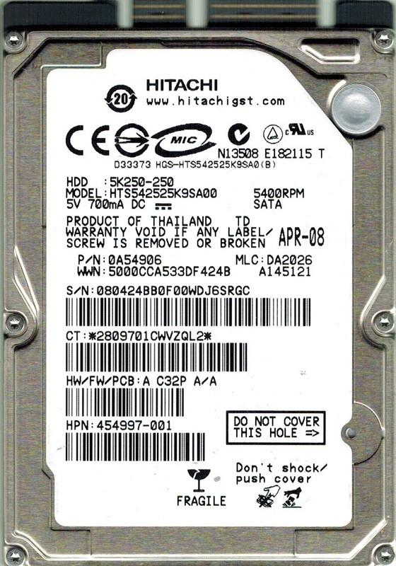 Hitachi HTS542525K9SA00 250GB P/N: 0A54906 MLC: DA2026
