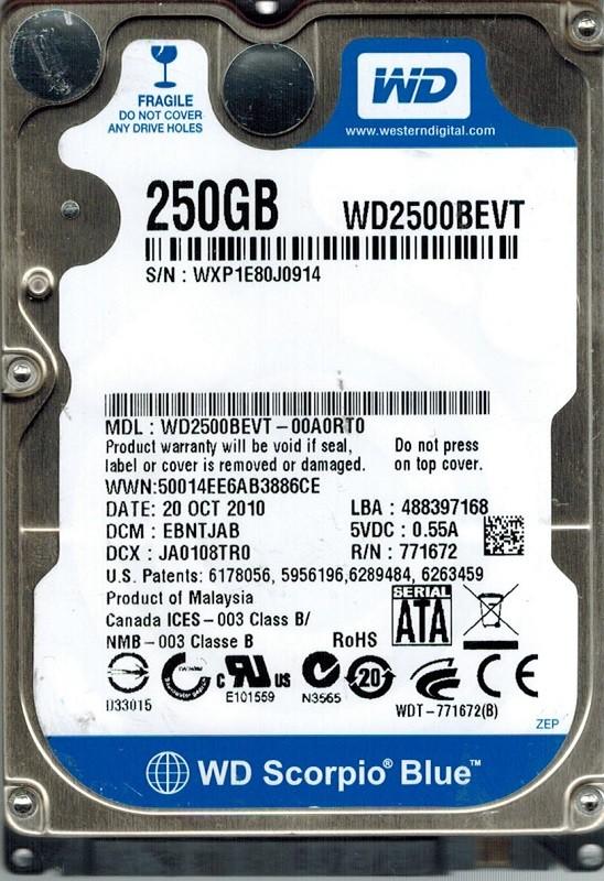 Western Digital WD2500BEVT-00A0RT0 250GB DCM: EBNTJAB