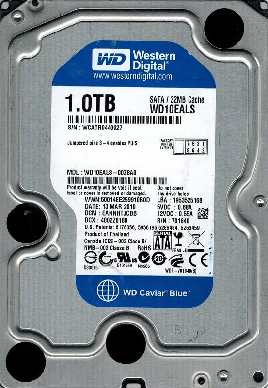 Western Digital WD10EALS-00Z8A0 1TB DCM: EANNHTJCBB