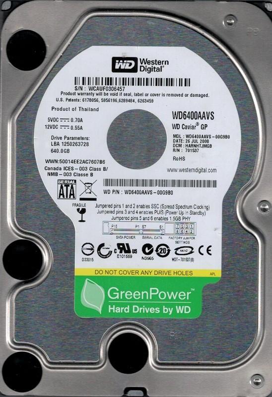 Western Digital WD6400AAVS-00G9B0 640GB DCM: HARNHTJMGB