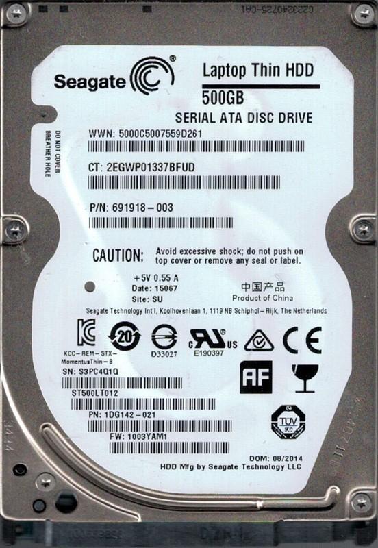 ST500LT012 P/N: 1DG142-021 F/W: 1003YAM1 SU S3P Seagate  500GB