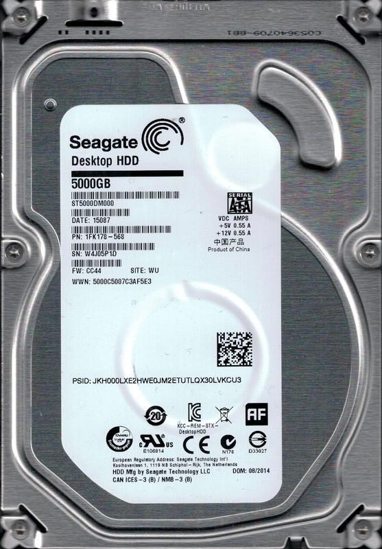 Seagate ST5000DM000 P/N: 1FK178-568 F/W: CC44 WU W4J 5TB