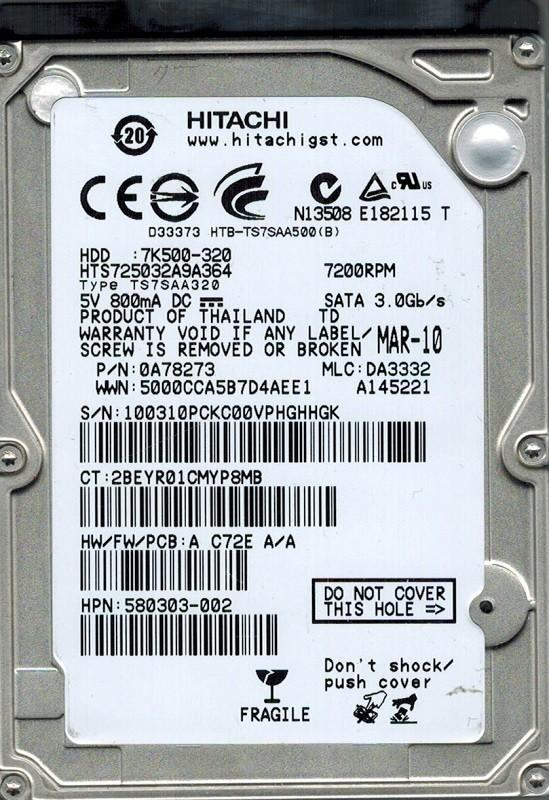 Hitachi HTS725032A9A364 P/N: 0A78273 MLC: DA3332 320GB