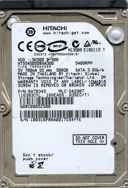 Hitachi HTS545050B9A300 MLC: DA2987 P/N: 0A70345 500GB