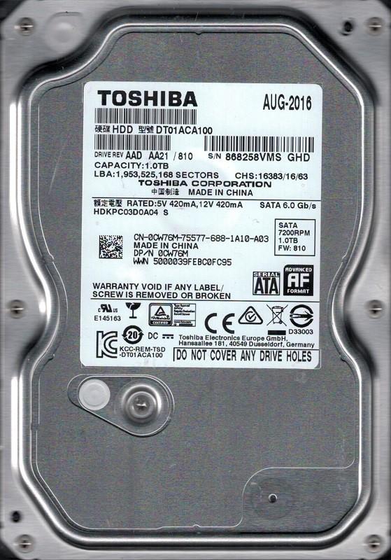 DT01ACA100 AAD AA21/810 HDKPC03D0A04 Toshiba 1TB