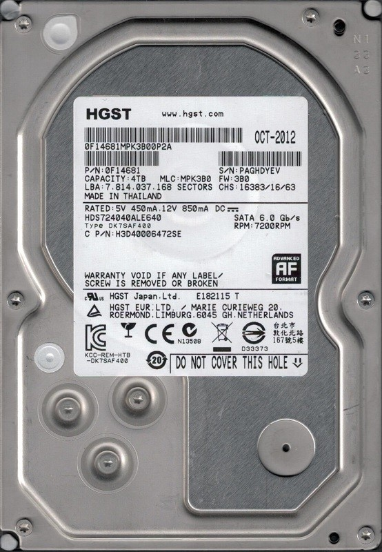 HDS724040ALE640 P/N: 0F14681 MLC: MPK3B0 Thailand HGST 4TB