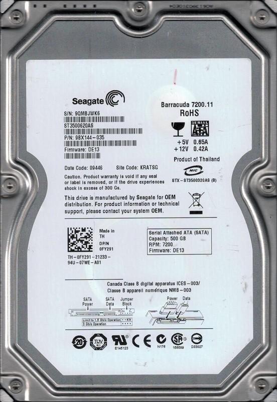 Seagate ST3500620AS P/N: 9BX144-035 F/W: DE13 9QM KRATSG 500GB