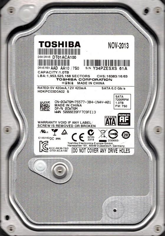 Toshiba DT01ACA100 AAD AA10/7S0 1TB China