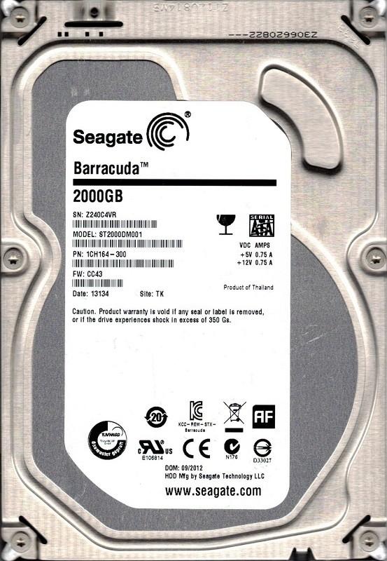 ST2000DM001 P/N: 1CH164-300 F/W: CC43 TK Z24 Seagate 2TB