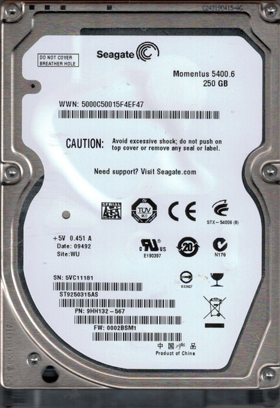 Seagate ST9250315AS 250GB P/N: 9HH132-567 F/W: 0002BSM1 WU