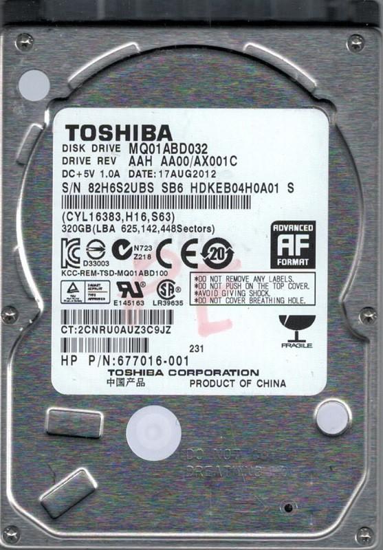 MQ01ABD032 AAH AA00/AX001C China Toshiba 320GB