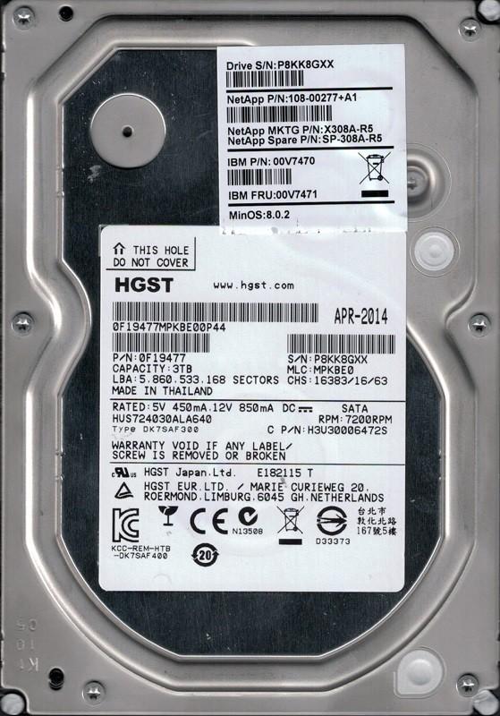 HGST HUS724030ALA640 P/N: 0F19477 MLC: MPKBE0 3TB