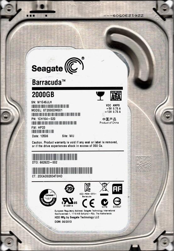 ST2000DM001 P/N: 1CH164-020 F/W: HP33 WU W1E Seagate 2TB