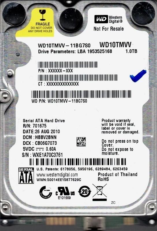 Western Digital WD10TMVV-11BG7S0 USB 2.0 1TB DCM: HBBV2BNN