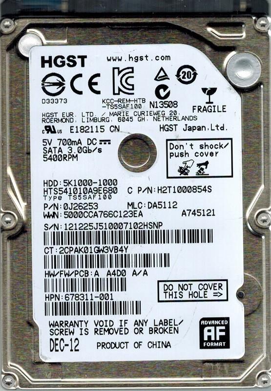 HTS541010A9E680 Hitachi P/N: 0J26253 MLC: DA5112 1TB