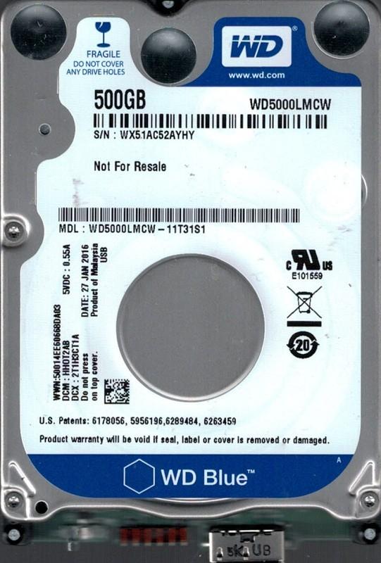 WD5000LMCW-11T31S1 DCM: HHOT2AB WX51A Western Digital 500GB