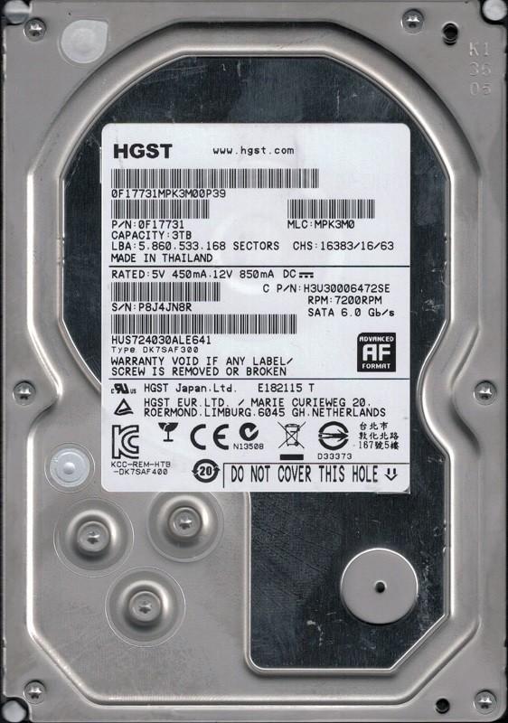 HGST HUS724030ALE641 P/N: 0F17731 MLC: MPK3M0 3TB