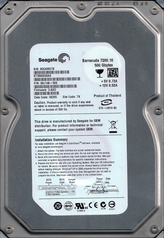 Seagate ST3500630AS P/N: 9BJ146-505 F/W: 3.AAD TK 9QG 500GB