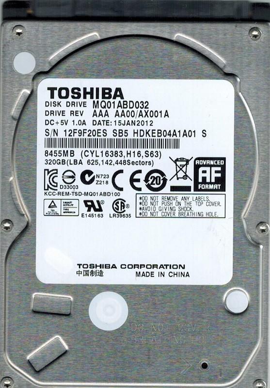 Toshiba MQ01ABD032 320GB AAA AA00/AX001A CHINA