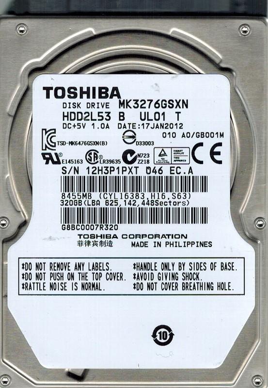 Toshiba MK3276GSXN HDD2L53 B UL01 T 320GB PHILIPPINES