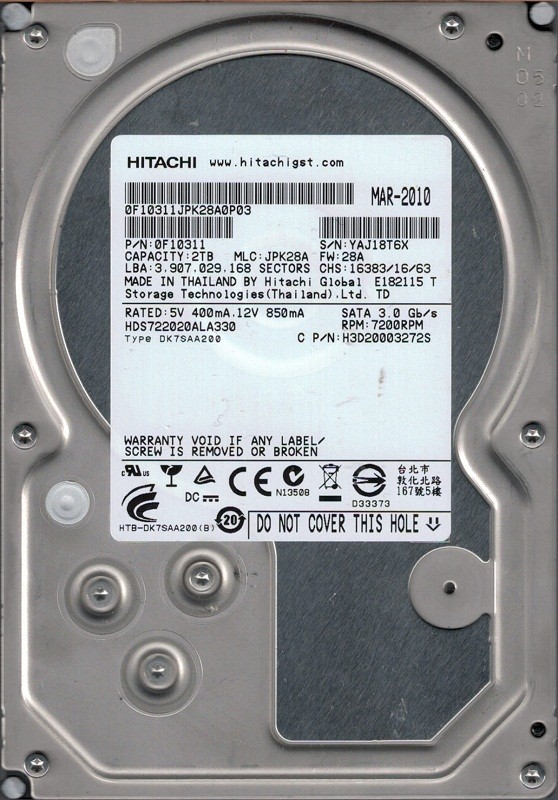 Hitachi HDS722020ALA330 P/N: 0F10311 MLC: JPK28A 2TB