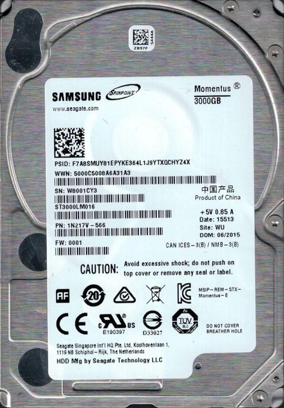 ST3000LM016 P/N: 1N217V-566 F/W: 0001 WU Samsung Seagate 3TB