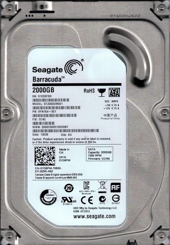ST2000DM001 P/N: 9YN164-501 F/W: CC4G SU S1E Seagate 2TB