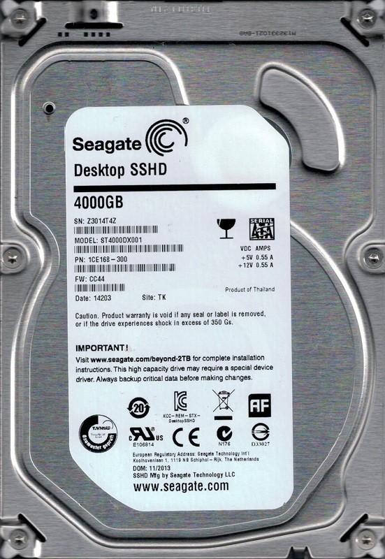 ST4000DX001 Seagate P/N: 1CE168-300 F/W: CC44 4TB TK Z30