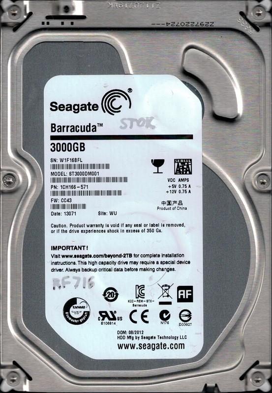 Seagate ST3000DM001 P/N: 1CH166-571 F/W: CC43 WU W1F 3TB