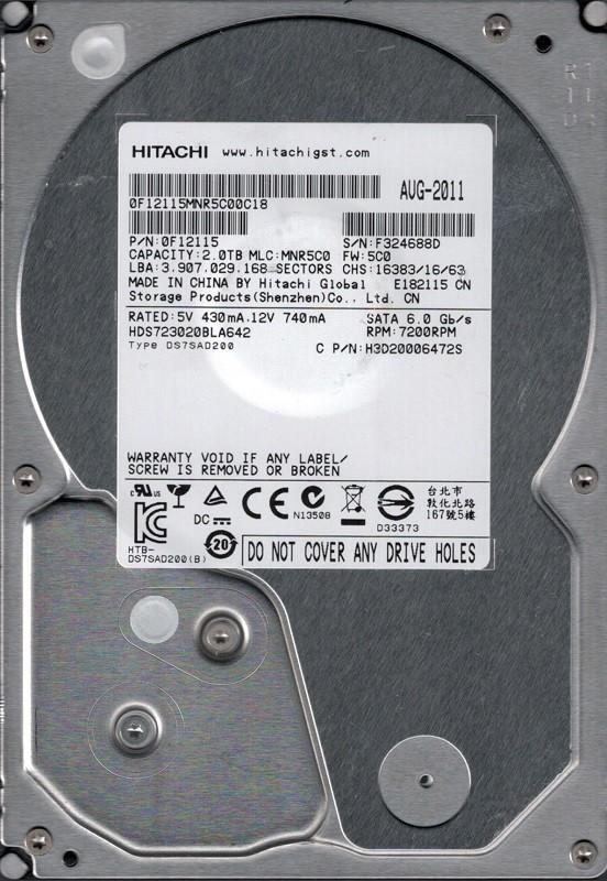 Hitachi HDS723020BLA642 P/N: 0F12115 MLC: MNR5C0 2TB