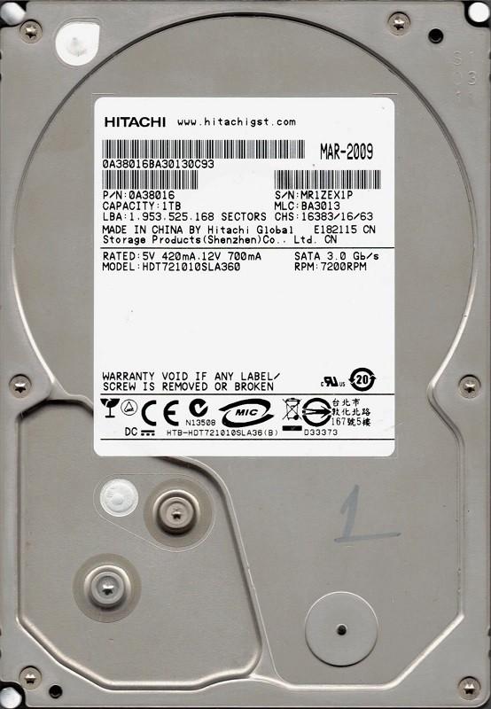 """HDT721010SLA360 P/N: 0A38016 MLC: BA3013 1TB Hitachi 3.5"""" HDD"""